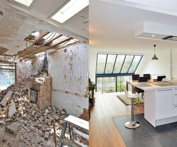 voor en na renovatie keuken